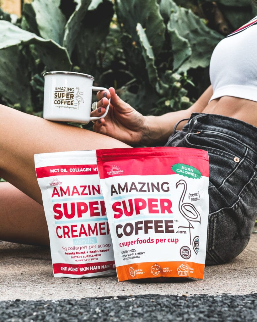 Fit woman with Super Amazing Coffee